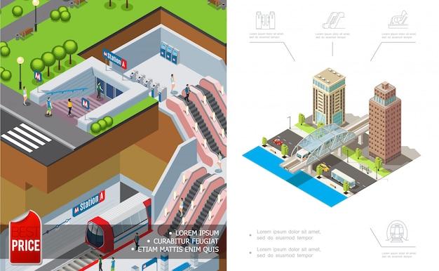 地下の近代的な建物と道路上を移動する車両の等尺性都市メトロ構成 無料ベクター