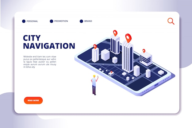 Isometric city navigation landing page Premium Vector