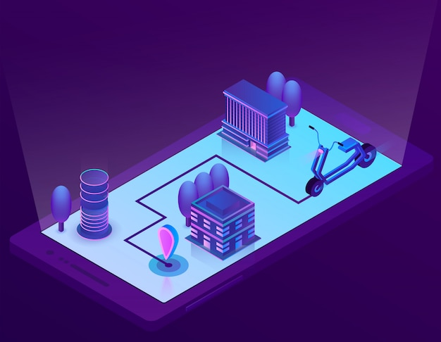 Isometric city navigation technology for smartphone Free Vector