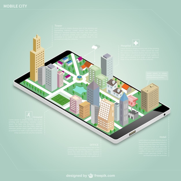 شهرستان ایزومتریک بر روی صفحه نمایش تلفن همراه