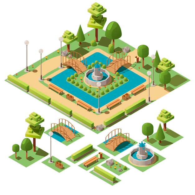 Isometric city park with design elements for garden landscape Free Vector