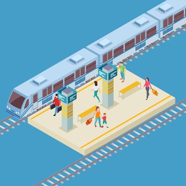 Isometric  city railway station  location Premium Vector