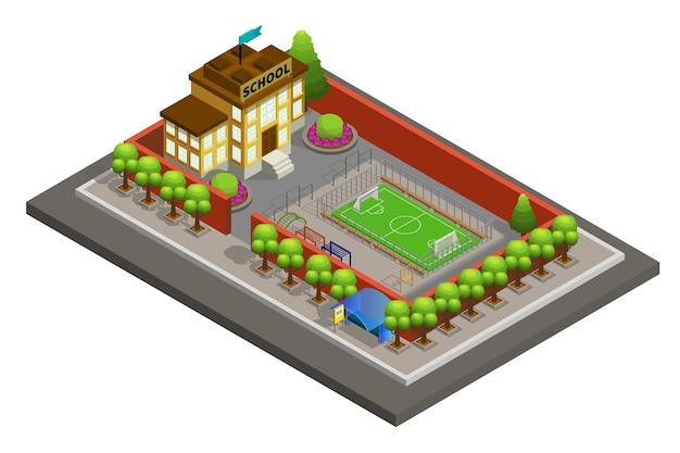Isometric city school building template Free Vector