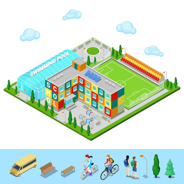Isometric city. school building with swimming pool and football ground Premium Vector