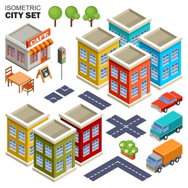Isometric city set. Premium Vector