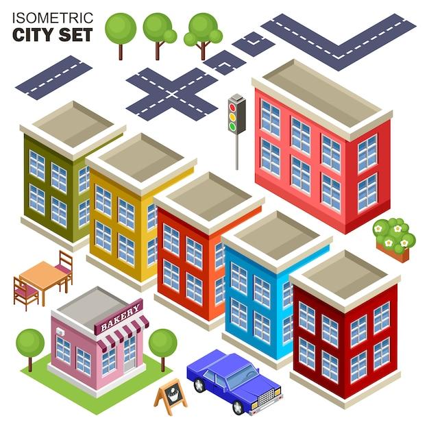 Isometric city set. Premium Vector