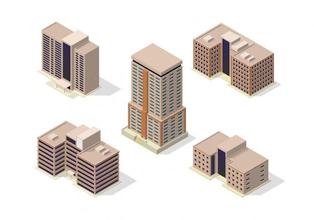 Isometric city skyscrapers buildings icon set Premium Vector