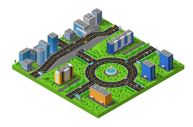 Isometric city street illustration Free Vector