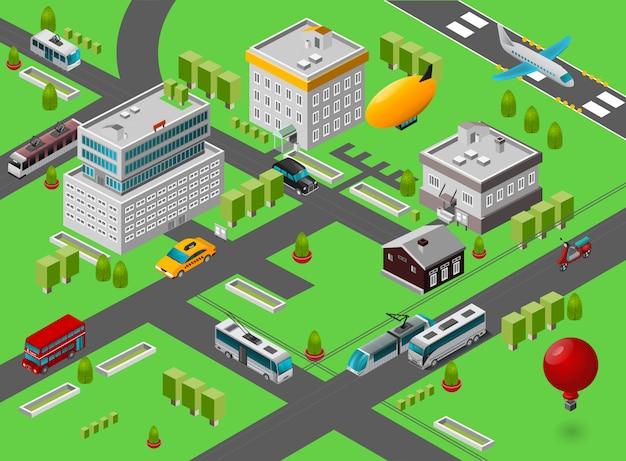 Isometric city street Free Vector