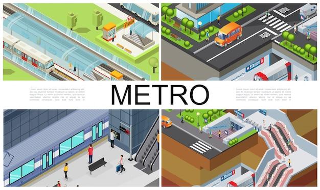 等尺性都市の地下鉄の構成、地下鉄駅のプラットフォーム、地下入口のチケットブース、エスカレーター、乗客、自動車、道路 無料ベクター