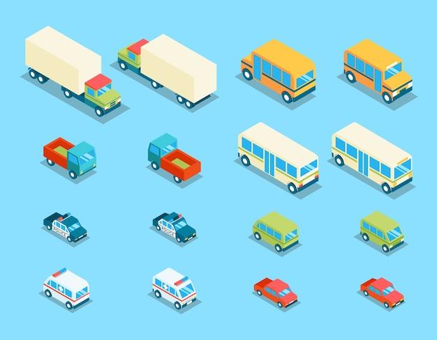 Icone di vettore 3d di trasporto città isometrica impostate. illustrazione di auto, auto e automobili di trasporto, furgoni e polizia Vettore gratuito