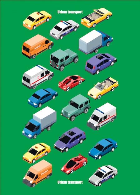 Collezione di trasporti urbani isometrici Vettore gratuito