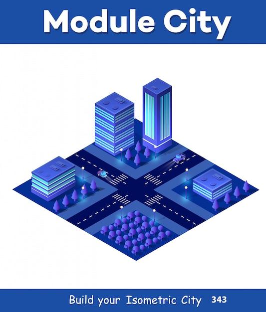 Isometric city of violet Premium Vector