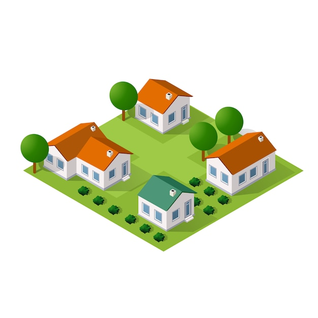 Isometric  city with houses and streets with trees Premium Vector