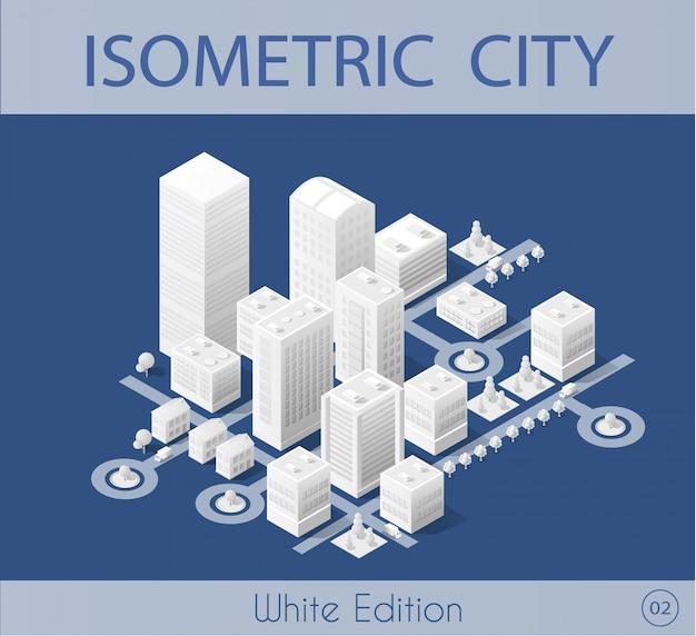 The isometric city with skyscraper Premium Vector