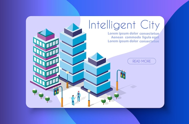 The isometric city with skyscraper Premium Vector