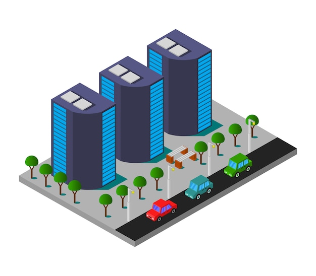 Isometric city with skyscrapers Free Vector