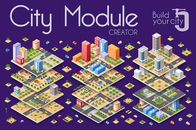 Isometric city with skyscrapers Premium Vector