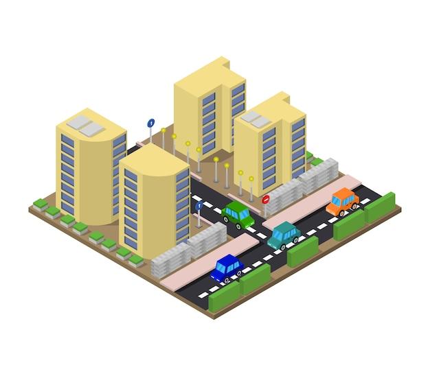 Città isometrica Vettore gratuito