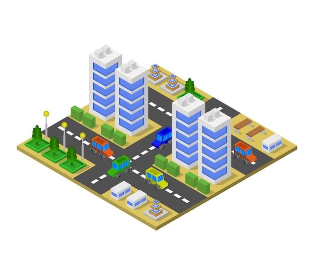 Isometric city Free Vector