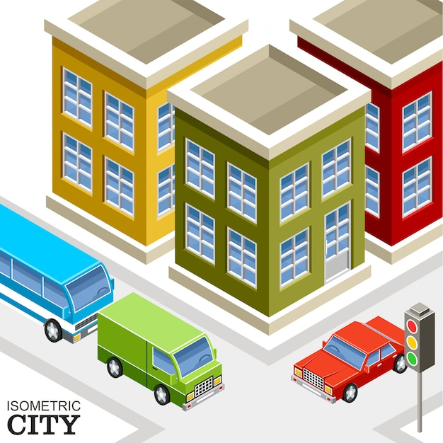 Isometric city. Premium Vector