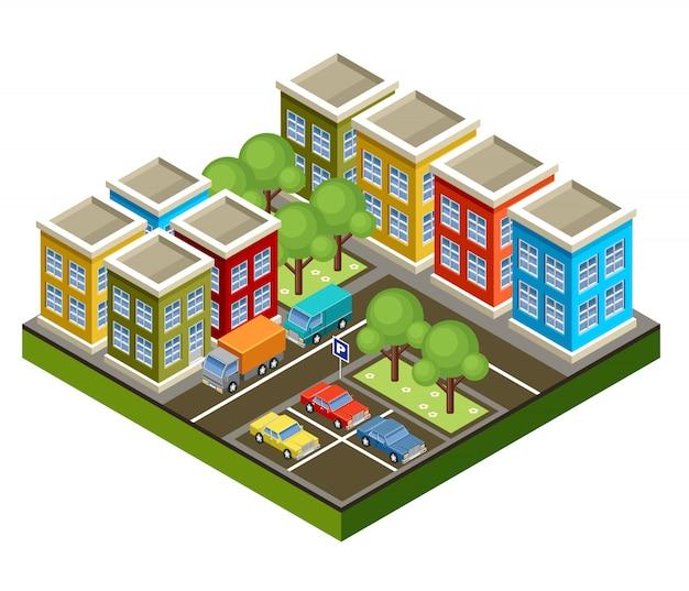 Isometric city. Premium Vector