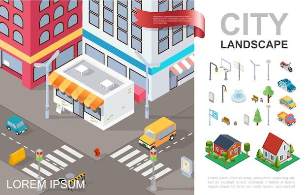 Composizione isometrica di paesaggio urbano con l'illustrazione delle case suburbane di traffico leggero dei banchi degli alberi della fontana dei veicoli della strada trasversale delle costruzioni moderne Vettore gratuito
