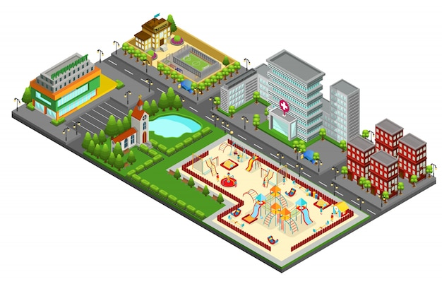 Изометрическая концепция городского пейзажа с детской площадкой у озера, больница, церковная школа, супермаркет, жилые здания, изолированные Бесплатные векторы
