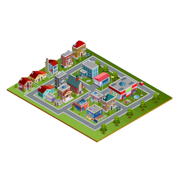 Isometric cityscape illustration Free Vector