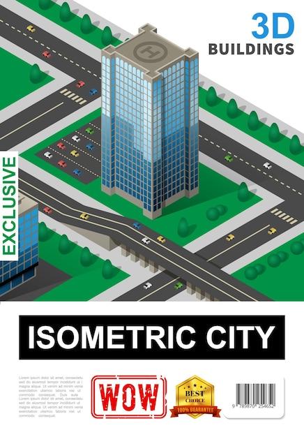 Изометрический городской плакат с современным небоскребом, парковкой, вертолетной площадкой, деревьями и транспортными средствами, движущимися по дороге, иллюстрация Бесплатные векторы