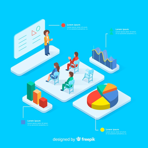 Isometric class with infographic elements Free Vector