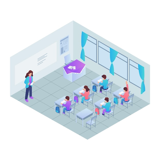 等尺性教室のコンセプト 無料ベクター