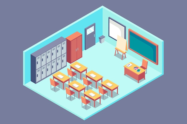 Isometric classroom concept Free Vector