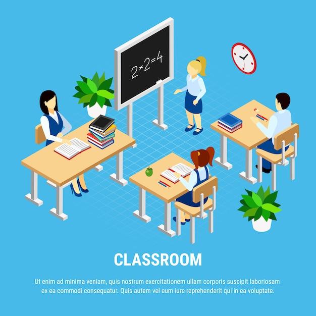 Aula isometrica con studenti e insegnante Vettore gratuito