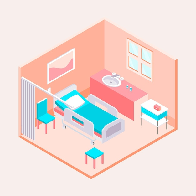 Isometric clean hospital room illustrated Free Vector