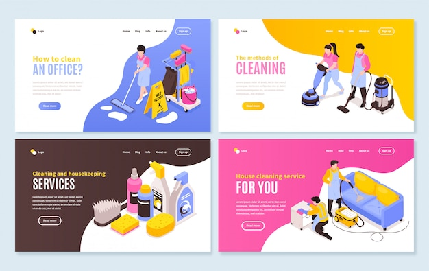 Isometric cleaning service horizontal banners collection with four web site compositions of images and clickable links Free Vector