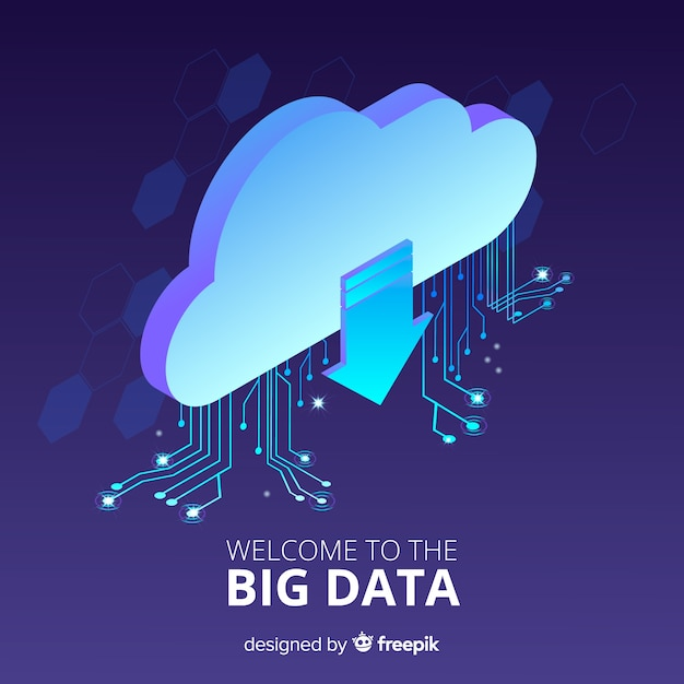 Isometric cloud big data background Free Vector