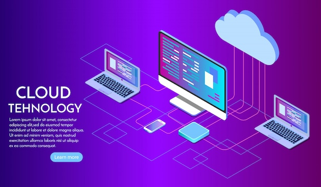 Isometric cloud computing services landing page Premium Vector