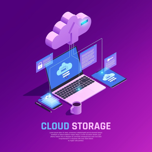 Isometric cloud storage illustration Free Vector