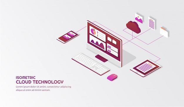 Isometric cloud storage technology Premium Vector