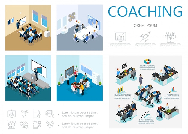 Isometric coaching composition with staff training business meeting brainstorming seminar online conference motivation and development icons Free Vector