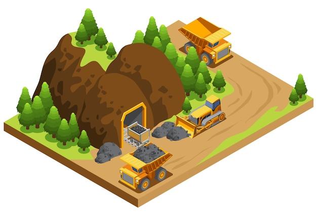 Modello di industria di estrazione del carbone isometrica Vettore gratuito