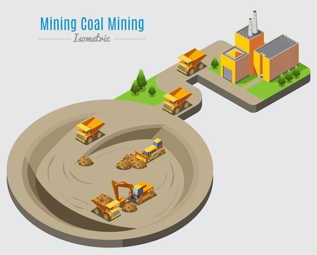 Concetto isometrico di estrazione del carbone Vettore gratuito