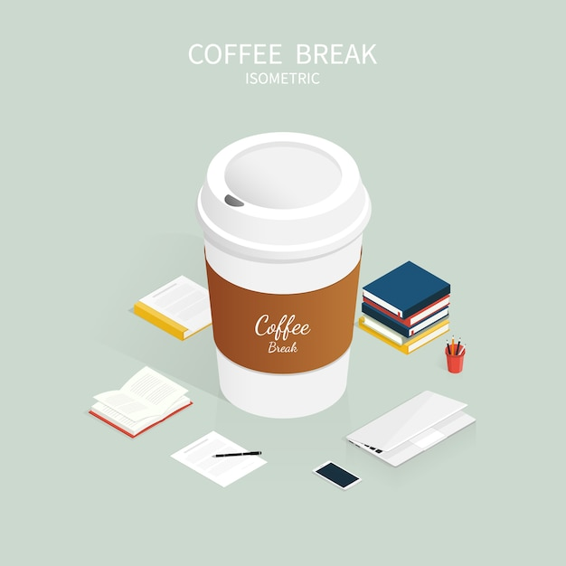 Isometric coffee break,cup of coffee cafe vector Premium Vector