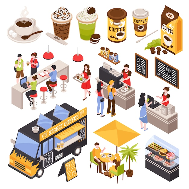 Isometric coffee house barista set with isolated human characters bar counter with seats menu and cups Free Vector