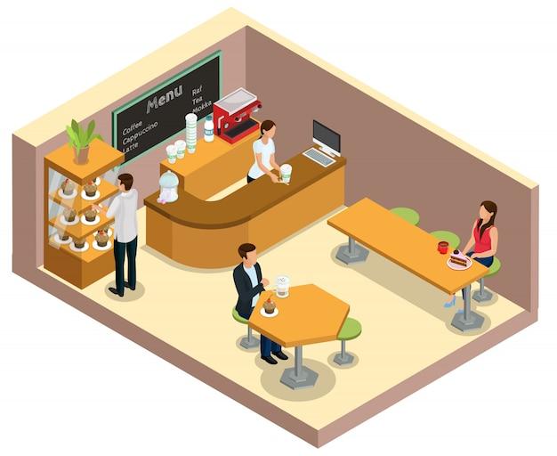 コーヒーを飲むと分離されたテーブルでデザートを食べるカウンターの顧客に法廷弁護士と等尺性のコーヒーショップインテリアコンセプト 無料ベクター