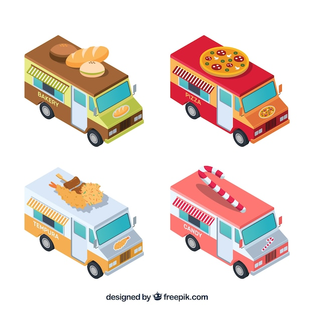 Isometric collection of classic food trucks