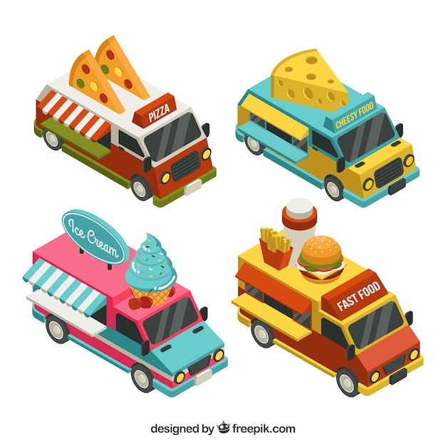 Isometric collection of colorful food trucks