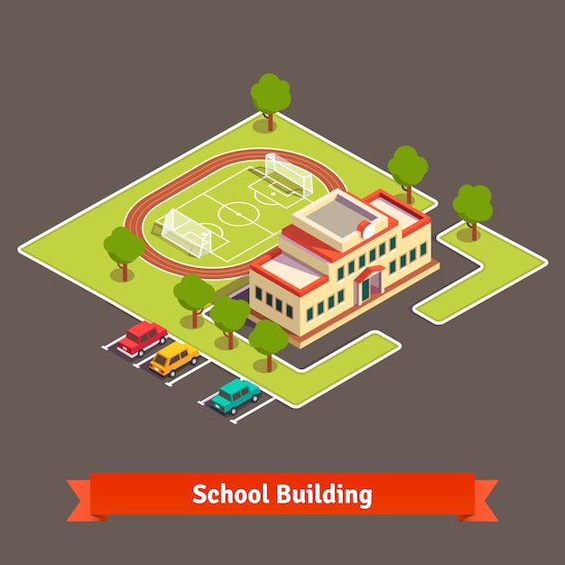 Isometric college campus or school building Free Vector