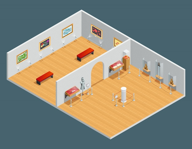 Isometric color illustration of museum interior with exhibit and painting Free Vector